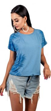 Blusa Arsenal Manga Curta Azul Arsenal Textil