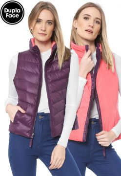 Colete Puffer Timberland Dupla Face Mount Kelsey Roxo/Coral