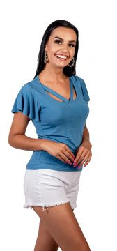 Blusa Arsenal Curta Azul Arsenal Textil