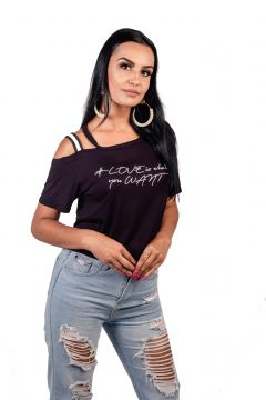 Blusa Cropped Arsenal Manga Curta Preto Arsenal Textil