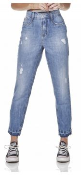 Calça Jeans Denim Zero Mom Com Puídos DENIM ZERO