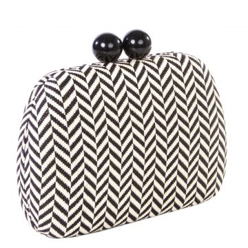 Clutch Le Briju Grafite Chevron Shine Off-White Le Briju