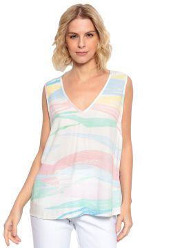 Blusa Regata Plano Estampada Energia Fashion Branco/Pink/Ve