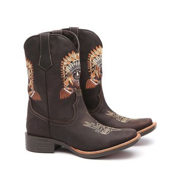 Bota Elite Country Aquilla Couro Cafe Elite Country