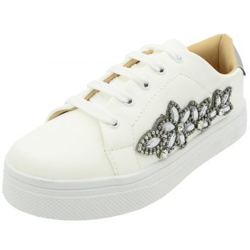 Tenis Hope Shoes Pedraria Flores Branco Hope Shoes