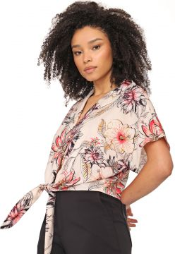 Camisa dimy Floral Bege/Rosa dimy
