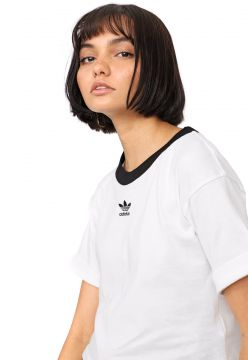 Camiseta Cropped adidas Originals Logo Bordado Branca/Preta