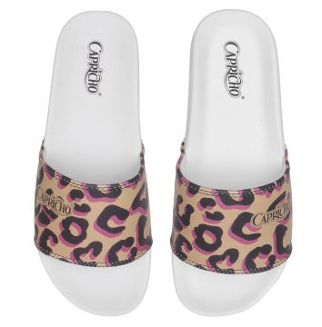 Chinelo Slide Capricho Color Animal Print Branco/Bege Capri