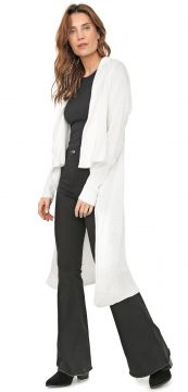 Maxi Cardigan Mercatto Tricot Recortes Branco Mercatto