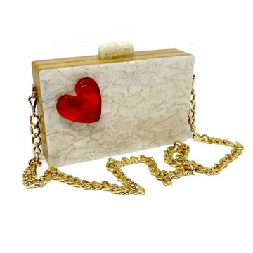 Bolsa Clutch Heart Pérola La Madame Co