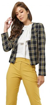 Casaqueto MX Fashion Tweed Xadrez Chelsea Preto/Amarelo MX