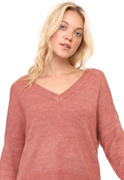 Suéter Only Tricot Liso Rosa Only