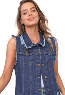 Colete Jeans Mercatto Destroyed Azul Mercatto