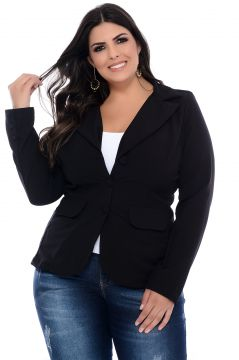 Blazer Plus Size Art Final Preto Helena Art Final
