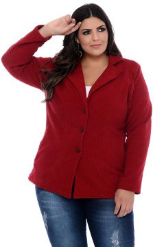 Casaco Trench Coat Art Final Plus Size July Vermelho Art Fi