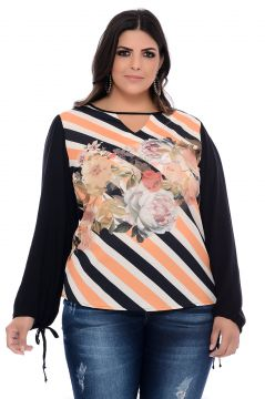 Blusa Plus Size Art Final Estampada Alana Art Final