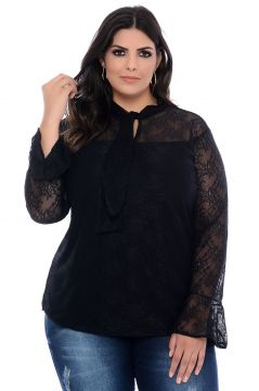 Blusa Plus Size Art Final Preta Renda Francesa Art Final