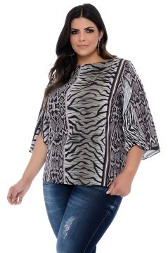 Blusa Plus Size Art Final Estampada Sara Art Final