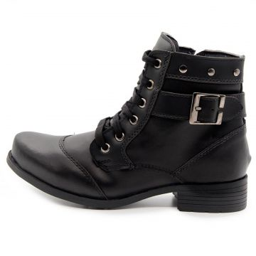 Bota Coturno Cano Baixo Doc Shoes Preto Doc Shoes