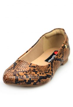 Sapatilha Love Shoes Bico Fino Confort Basica Cobra Caramel