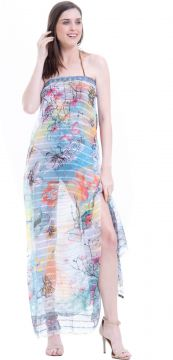 Canga 101 Resort Wear Plus Size Estampado Aquarelado Azul 1