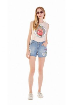 Short Zinco Five Pockets Com Silk Jeans Zinco