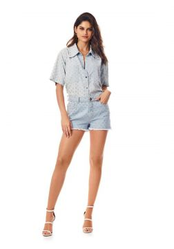 Short Morena Rosa Five Pockets Com Termocolante Jeans More
