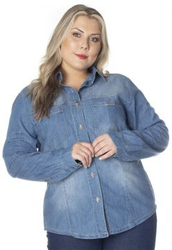 Camisa Jeans Ecolife Jeans Azul Ecolife Jeans