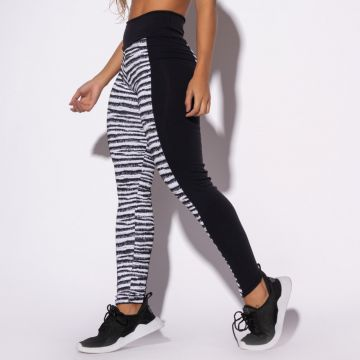 Legging Fitness Jacquard Zebra Preta Honey Be LG1324 Preto