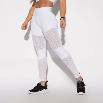 Legging Fitness Branca Tule Honey Be LG1320 Branco Honey Be