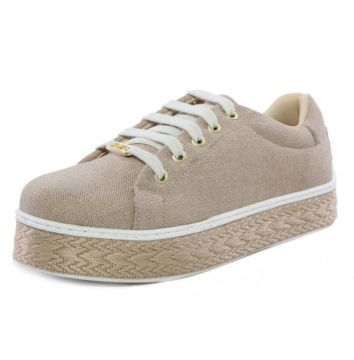 Tênis Casual Flat Confortável Hype Ref 339 Bege Hype