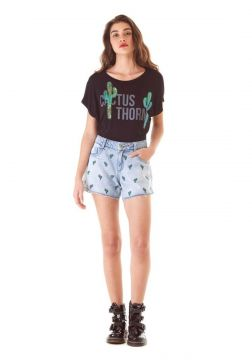 Short Zinco Five Pockets Bordado Jeans Zinco