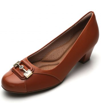 Scarpin Piccadilly Fivela Caramelo Piccadilly