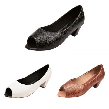 Kit 03 Pares Peep Toe Donna Santa Preto-Branco-Caramelo Don