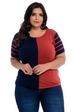 Blusa Plus Size Barrieli Bicolor Marinho e Terracota Barrie