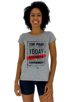 Camisa Babylook Alto Conceito The Pain You Feel Mescla Alto