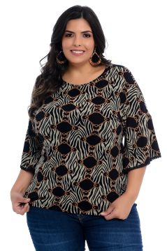 Blusa Plus Size Barrieli Estampada Luiza Barrieli