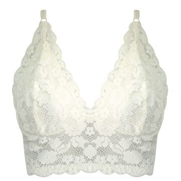 Sutiã Eloeth Lingeries Top De Renda Floral Off White Eloeth