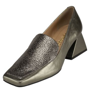 Scarpin Delotto Slipper Couro Pewter Delotto