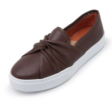 Tênis Casual Slip On CRISTAISHOES Marrom Café CRISTAISHOES