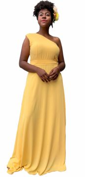 Vestido de Festa Simples Plus Size Amarelo TNM Collection