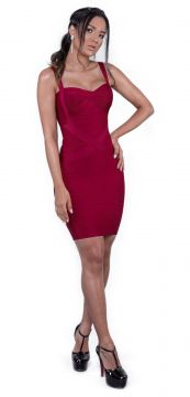 Vestido Bandage Dress Luxo Bordô Bandage Dress