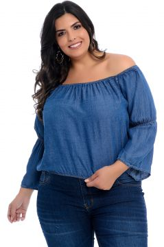 Blusa Plus Size Cambos Jeans Cropped Ombro a Ombro Cambos