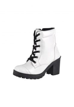 Bota Coturno Cr 1701 Verniz Branco CR Shoes