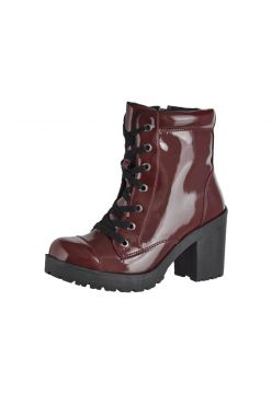 Bota Coturno Cr 1701 Verniz Vinho CR Shoes