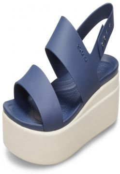 Sandália Crocs Brooklyn Low Wedge W Azul/Bege Crocs