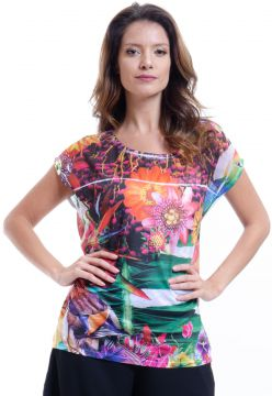 Blusa 101 Resort Wear Tunica Ampla Decote Careca Estampada