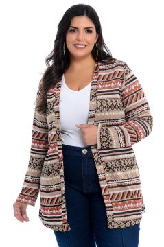 Maxi Cardigan Barrieli Bege Estampado Barrieli