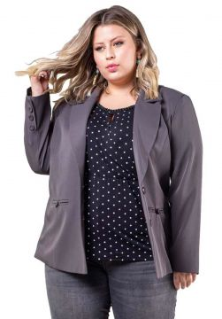 Blazer Plus Size Two Way Basic - Palank Cinza Palank Plus S