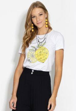 Blusa Quintess Lemon Branca Bella Shoes